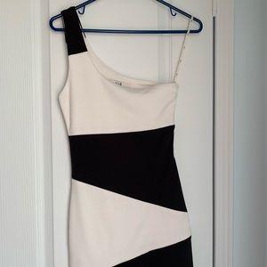 One-Shoulder Black & White Mini Dress